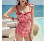 Bikini 1 mảnh họa tiết caro đỏ trắng