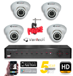Trọn bộ 4 Camera hồng ngoại HD Vantech