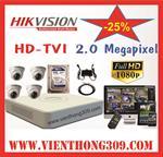 TRỌN BỘ 04 CAMERA HIKVISION HD TVI 2.0