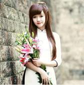 Áo dài trắng viền đen AD030