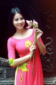 Áo dài hồng sen AD033