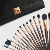 Bộ Cọ Trang Điểm 15 Cây Kèm Bao Da Rose Gold BH Cosmetics