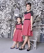 Combo đầm hồng chấm bi cho Mẹ và Bé MVB0005 GINgER WORLD