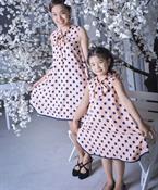 Combo Đầm xòe cổ nơ cho Mẹ và Bé MVB0008 GINgER WORLD