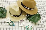 Mũ cói viền nơ pha hoa