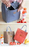 Túi giữ nhiệt kẻ sọc xanh tím than