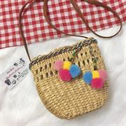 Túi cói pom pom đan thưa