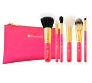 Bộ Cọ Trang Điểm 6 Cây BH Cosmetics Neon Pink - 6 Piece Brush Set with Cosmetic Bag