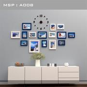 Bộ khung ảnh treo tường kết hợp đồng hồ treo tường A008
