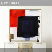 Tranh trừu tượng màu đỏ đen đẹp N041
