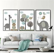 Bộ tranh treo tường hình chú voi cho phòng ngủ của bé N072