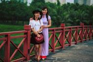 Áo dài trắng viền đỏ AD022