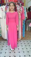 áo dài hồng cổ ngọc trai AD043