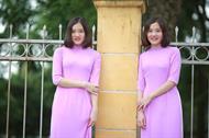 áo dài hai tà màu tím