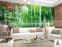 Vách xuyên sáng phòng khách in rừng Trúc
