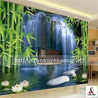 Vách xuyên sáng phòng khách in cây trúc thác nước 3D