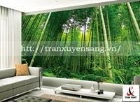 Vách xuyên sáng phòng khách in rừng trúc 3D