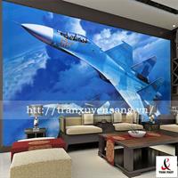 Vách xuyên sáng phòng khách in hình ảnh phi cơ và bầu trời xanh