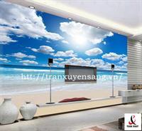 Vách xuyên sáng phòng khách in hình ảnh bãi biển, bầu trời xanh