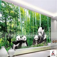Vách xuyên sáng phòng khách in hình ảnh gia đình gấu trúc