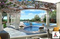 Vách xuyên sáng phòng khách in hình bể bơi 3D