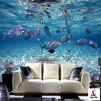 Vách xuyên sáng phòng khách in hình cuộc sống dưới đại dương