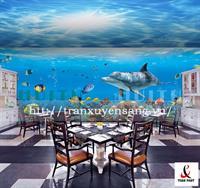 Vách xuyên sáng nhà hàng in hình đại dương