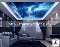 Mẫu trần phòng khách xuyên sáng in bầu trời số 4