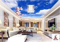 Mẫu trần phòng khách xuyên sáng in bầu trời số 6