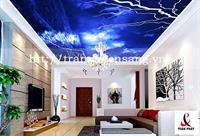 Mẫu trần phòng khách xuyên sáng in bầu trời số 8
