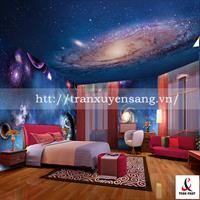 Mẫu trần phòng ngủ xuyên sáng in vũ trụ