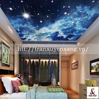 Mẫu trần phòng ngủ xuyên sáng in bầu trời đêm