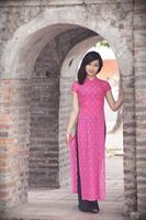 Ao dài cổ vuông zen hồng