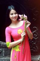 Áo dài hồng sen
