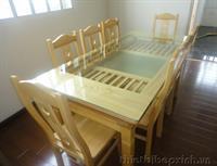 Bàn ăn sồi 8 ghế 2 tầng