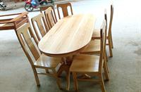 Bàn ăn sồi ovan+dàn chè 8 ghế