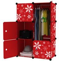 Tủ nhựa thông minh màu đỏ họa tiết hoa 3 tầng 4 ngăn - TN0035