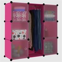 Tủ nhựa thông minh màu hồng 3 tầng 7 ngăn - TN0027
