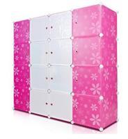 Tủ nhựa đa năng màu hồng trắng 4 tầng 12 ngăn - TN0030