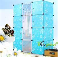 Tủ nhựa thông minh màu xanh hoa 4 tầng 10 ngăn - TN0026