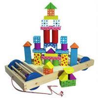 Đồ chơi gỗ xếp hình tòa lâu đài xếp hình xe kéo AYX0022