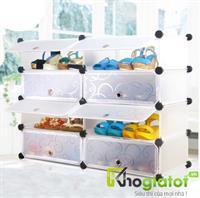 Tủ nhựa đa năng để giày màu trắng vân chìm 4 tầng 8 ngăn - TN0016