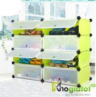 Tủ nhựa thông minh đựng giày 4 tầng 8 ngăn màu xanh - TN0015