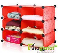 Tủ đựng đồ đa năng 3 tầng 6 ngăn màu đỏ - TN0023