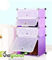 Tủ nhựa lắp ghép thông minh đựng giày và bốt màu tím 4 tầng 4 ngăn - TN0005