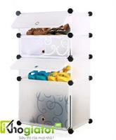 Tủ nhựa lắp ghép thông minh để giày và bốt màu trắng 4 tầng 4 ngăn - TN0004