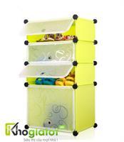 Tủ nhựa lắp ghép thông minh đựng giày và bốt màu vàng chanh 4 tầng 4 ngăn - TN0003