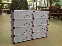 Tủ nhựa đựng giày dép đa năng 4 tầng 8 ngăn màu tím vân, cừa họa tiết - TN0070