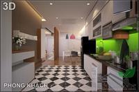 Tủ bếp MDF sơn bệt 2