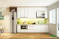 Tủ bếp công nghiệp MDF sơn trắng M03